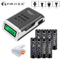 PALO 8 piezas AAA batería recargable aaa bateria ni-mh 1,2 v baterías con cargador de pantalla LCD para aa aaa ni-mh ni-cd batería