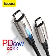 Baseus-Cable USB tipo C de carga rápida 4,0 PD, 60W, para MacBook Pro, Xiaomi Mi 9, 8, Redmi K20 Pro, USB-C