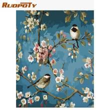 Набор для рисования по номерам на холсте с птицами и цветами