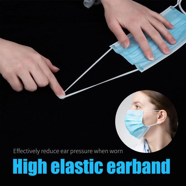 200 PCS Disposable Face Mask 3 Layer Mouth Masks Filter Ear Loop Maske Earloop Cover Mask Safety Breathing Maska 5