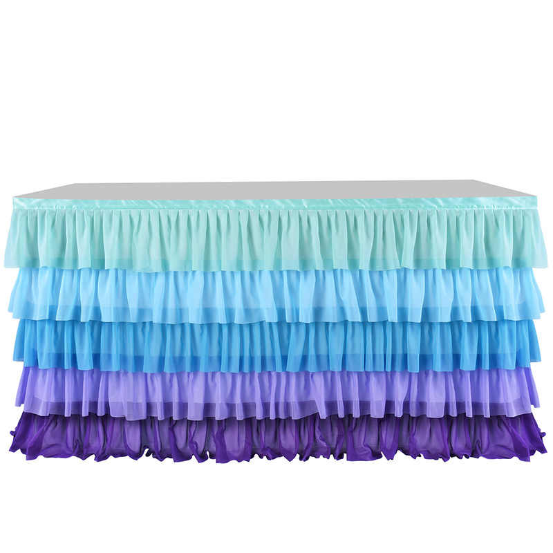 Baby Shower Five Layer Wave Table Skirt Mermaid Birthday Party Decoration Wedding Banquet Dessert Table Signature Table Skirt