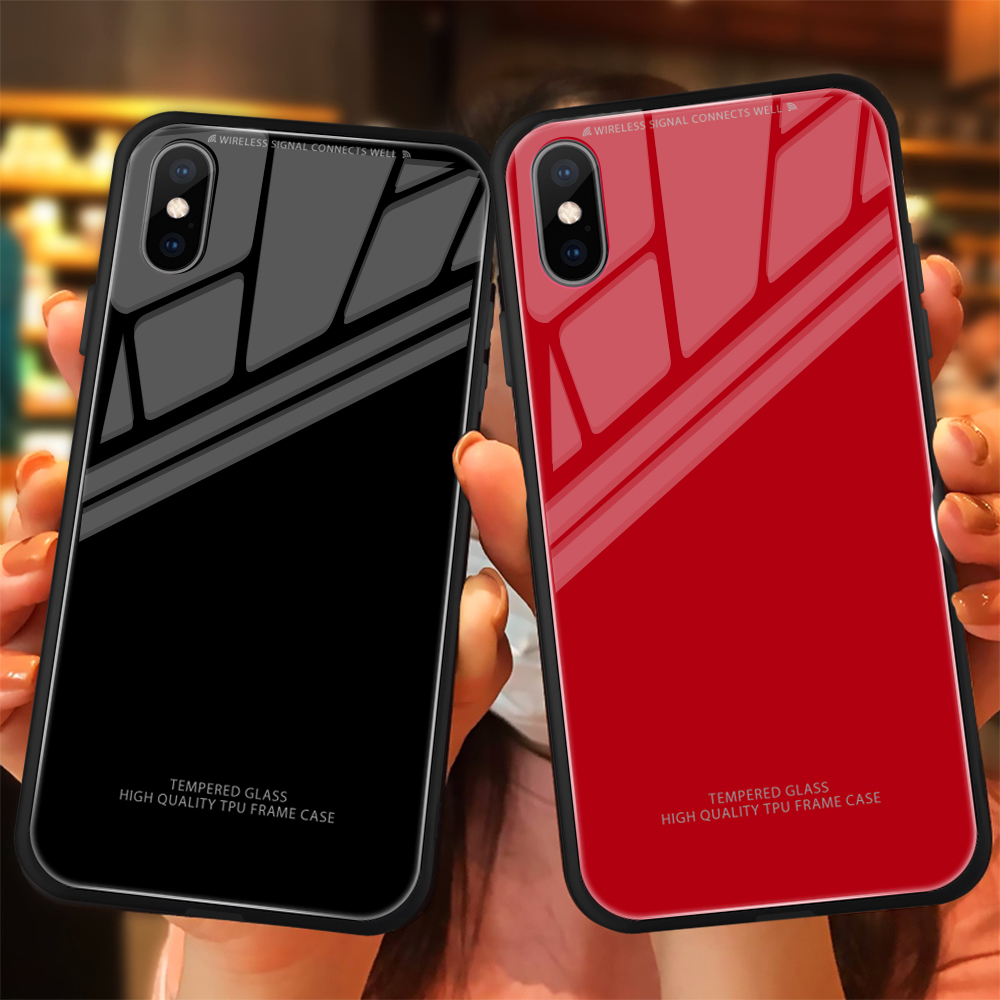 Fashion Hard Glass Phone <font><b>case</b></font> For <font><b>iPhone</b></font> XR XS X XS Max Solid Smooth Luxury Protective Cover Funda For <font><b>iPhone</b></font> <font><b>6</b></font> 6S 7 8 <font><b>Plus</b></font> image