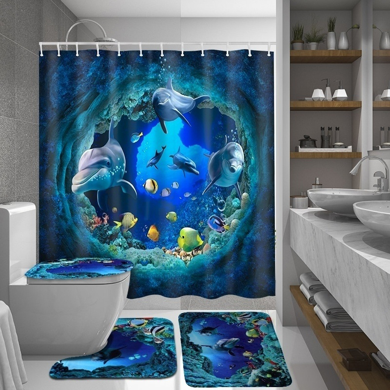 LANGRIA 4pcs Flower Print Bathroom Shower Curtain Set With Flannel Fabric For Bathroom And Toilet Windows 10