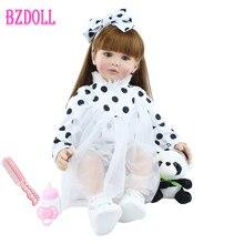 60cm de silicona suave muñeco de bebé Reborn juguetes de peluche vinilo Pelo Largo princesa bebés vivos vestido bebé niña muñeca con Panda