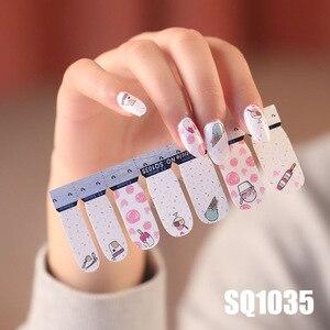 Image 3 - 14tips/sheet Korean Version Multicolor  Stickers Nail Wraps Full Cover Nail Polish Sticker DIY Adhesive Nail Art Decoration