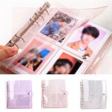 Album Photo Portable à paillettes porte-Photo, sac pour carte de visite à brancher porte-carte, grand format, Transparent, 6 trous