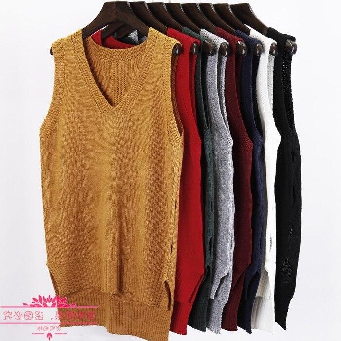 Fall winter 2020 New fashion Autumn Loose sleeveless V neck knitted vest & dress women sweater all-match pullover full femme