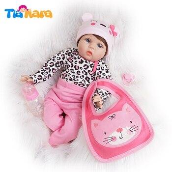 55cm renacer muñecas del bebé niña recién nacido juguete de vinilo de silicona de algodón rosa oscuro traje
