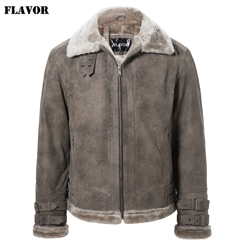 FLAVOR Men's Real Leather Jacket Faux Fur Shearling jacket bomber Air Force Aviator Warm Coat