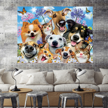 HUACAN Diamond Embroidery Dog Full Square Drill Sale Diamond Painting Animals Cross Stitch Kit Home