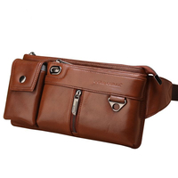 Genuine Leather Hip Bum Fanny Pack Male Cigarette Cell Phone Case Pocket Chest Bags Retro Men Nature Skin Loop Waist Belt Bag