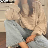 Colorfaith 2019 New Autumn Winter Women Sweaters Pullovers Minimalist Korean Style Knitting Ladies Vintage Solid Tops SW16128