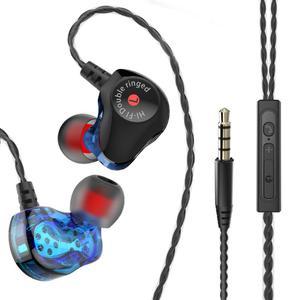 Универсальные проводные наушники с двойным приводом, Hi-Fi наушники с басами, музыкальные наушники с микрофоном, спортивные наушники-вкладыш...
