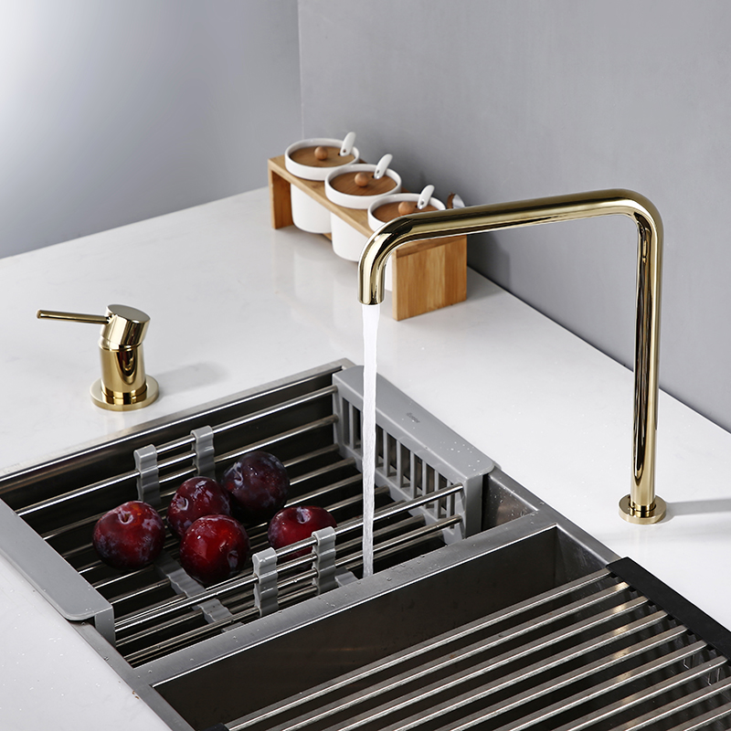 Bagnolux Promotion Polished Gold Kitchen Basin Faucet Two Hole Hot And Cold Water Brass Kitchen Sink Mixer Tap With Aerator