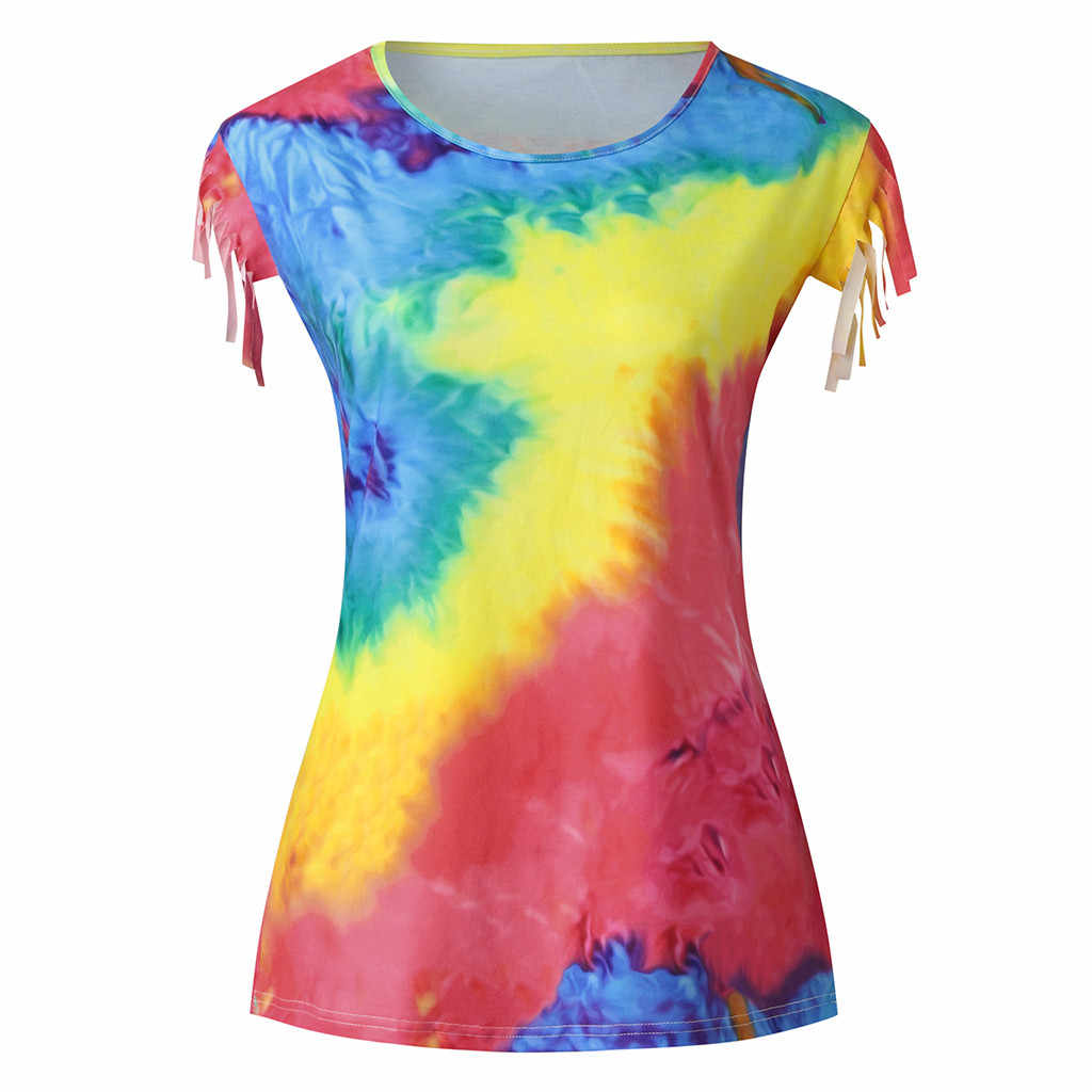 Tie Dye Print Blouse Shirt Vrouwen Zomer Mode Kwastje Korte Mouw Tops En Blouse Harajuku Camiseta Mujer Vrouw Blusas Kimono