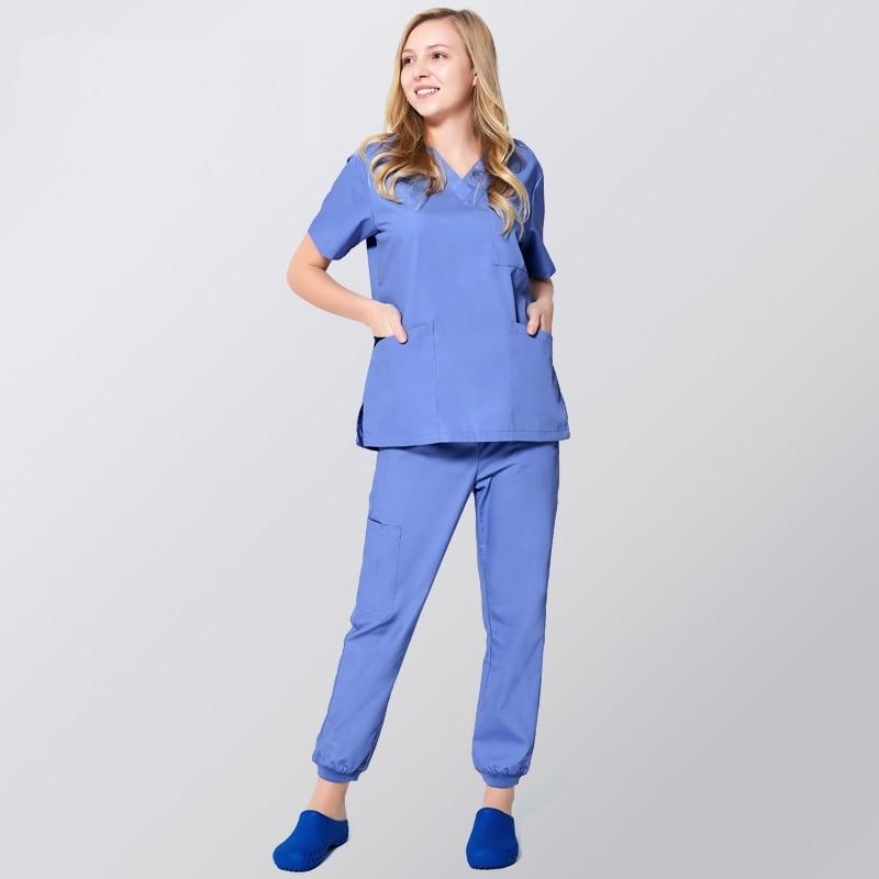 New Women Men Medical Jogger Pants And Shirts,Hospital Dental Clinic Doctor Scrub Set,Nurse Uniform,Pure Color Medical Uniforms