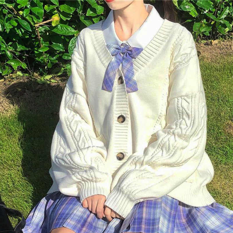 Новинка 2021, милый вязаный свитер для девушек, свободный свитер с рукавами в студенческом стиле, форма JK для девушек в стиле Харадзюку, свитер...