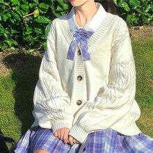 Doce bonito kawaii lolita menina camisola de malha preguiçoso estilo preppy solto puff mangas harajuku meninas jk uniforme camisola casaco s ~ 2xl