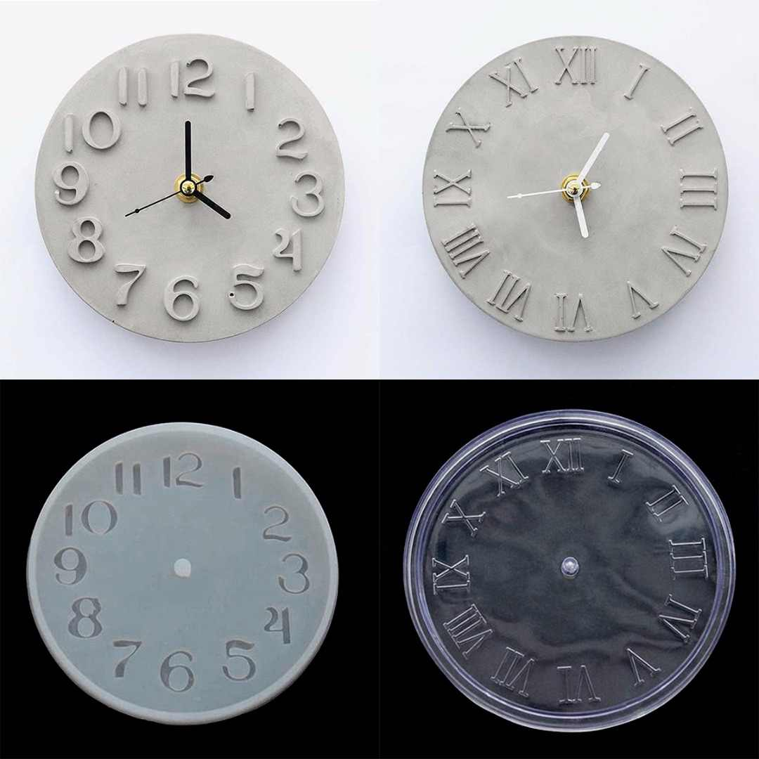Crystal Epoxy Cement Concrete Silicone Clock Mold Roman/Arabic Digital Clock Mould for Making Plaster Mould Handmade DIY Crafts