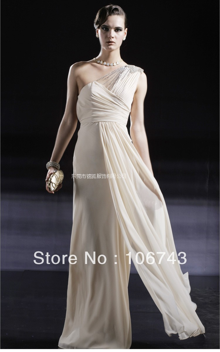 free shipping 2016 new fashion vestidos Formal Elegant plus size crystal one shoulder long chiffon evening party gown dresses