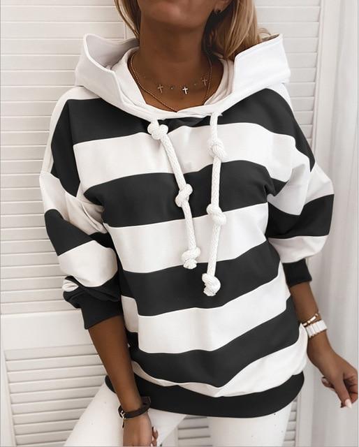 Фото женский свитшот с длинным рукавом повседневный полосатый пуловер