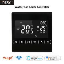 Tuya WiFi inteligentny termostat regulator temperatury do wody elektryczne ogrzewanie podłogowe woda kocioł gazowy współpracuje z Alexa Google Home tanie tanio yieryi CN (pochodzenie) MH1823L 70 ° C-99 ° C DIGITAL Gospodarstwa domowego Ładowarka M12 * 1 5 Osadzone 1 9 Cali i Pod