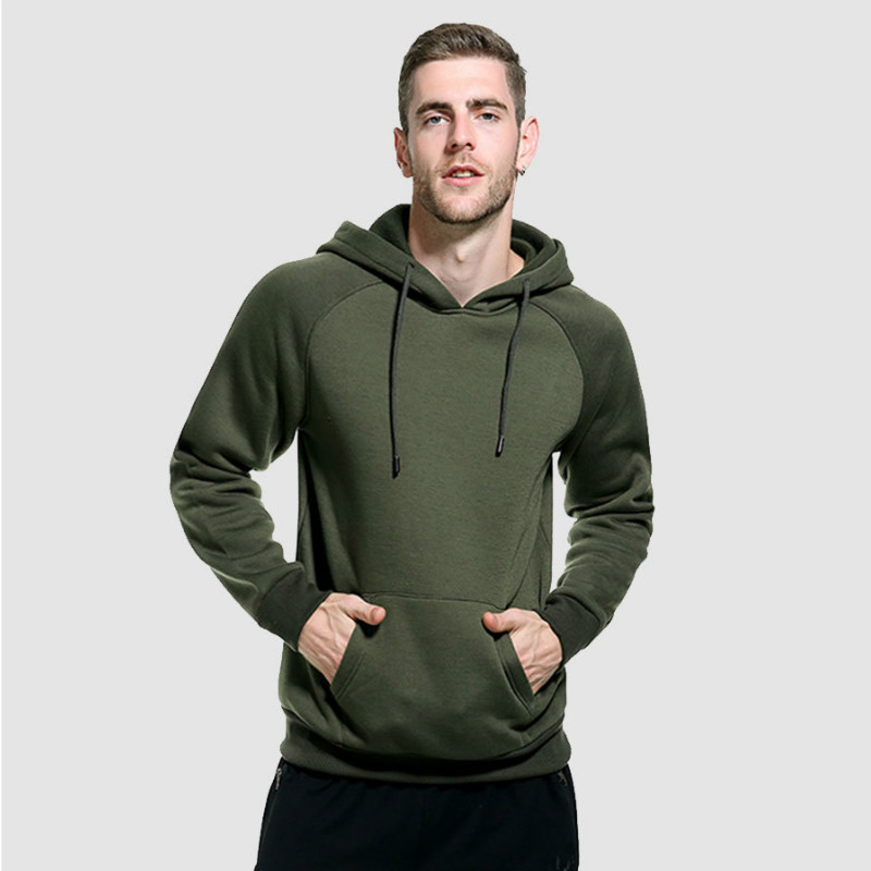 Spirio Mens Casual Solid Workout Long Sleeve Cotton Hoodie Slim Fit Pullover Sweatshirt