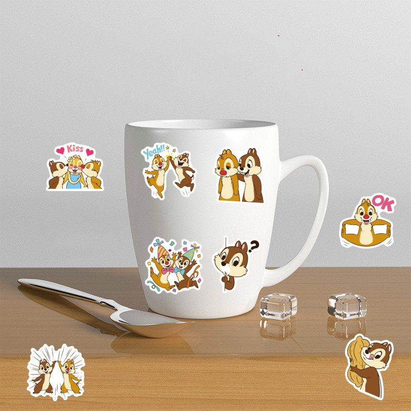 40Pcs Cartoon Disney Chip 'N' Dale Sticker Children's Classic Toy Cartoon Mobile Phone Water Cup Waterproof Hand Account Sticker