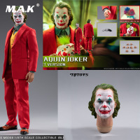 For Collection MTOYS MS008 1/6 Scale Joaquin Joker Red Suit Ver. Makeup Head Sculpt with Mask Set Full Set Action Figure Model