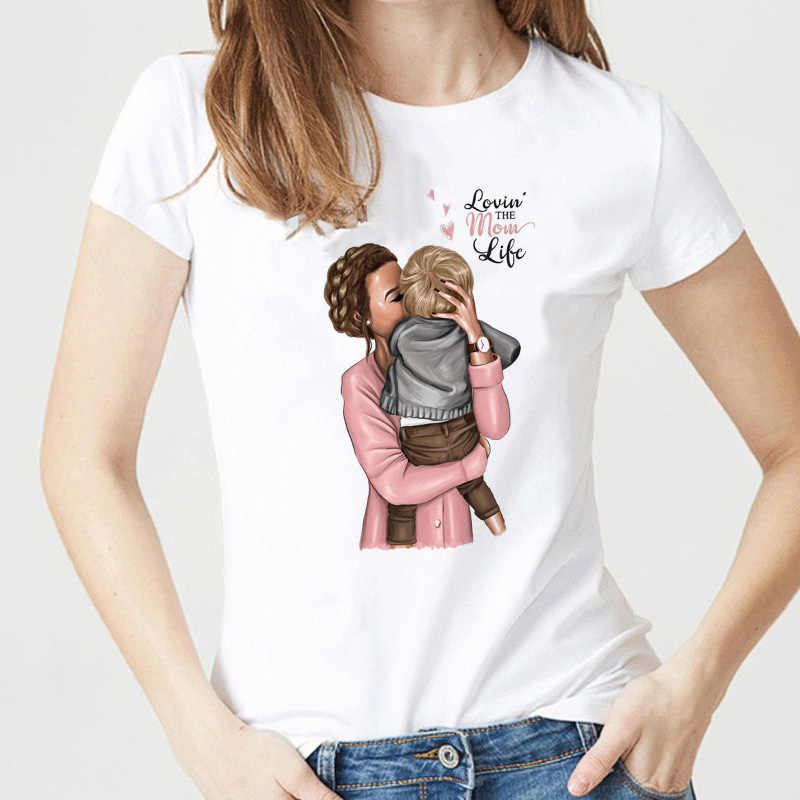 Super Mama T-shirts for Women Mother's Love Print White T-shirt Tee Shirt Femme Cotton Vogue T Shirt Tops Streetwear Clothes