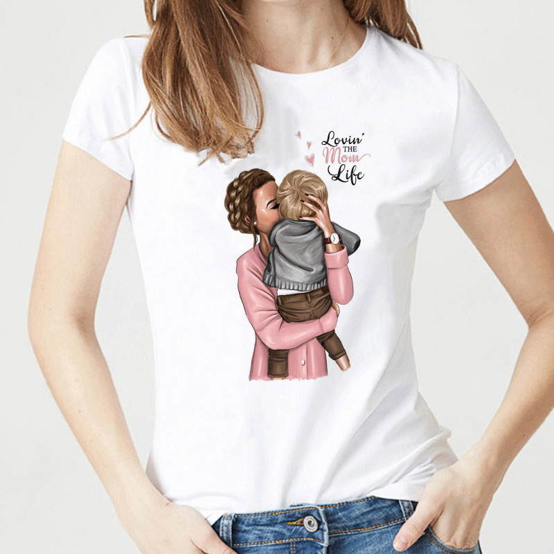 Super Mama T-<font><b>shirts</b></font> for <font><b>Women</b></font> Mother's Love Print White T-<font><b>shirt</b></font> Tee <font><b>Shirt</b></font> Femme <font><b>Cotton</b></font> Vogue T <font><b>Shirt</b></font> Tops Streetwear Clothes image