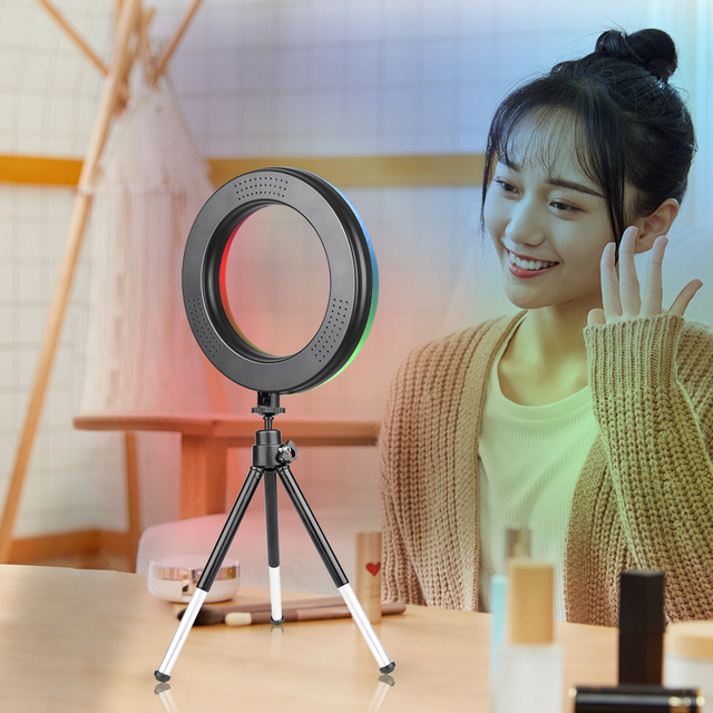 6inch RGB LED Ring Light Selfie Video Ring Lamp With Tripod Stand USB Plug 15 Colors 3 Model For YouTube Live Makeup Photography 6
