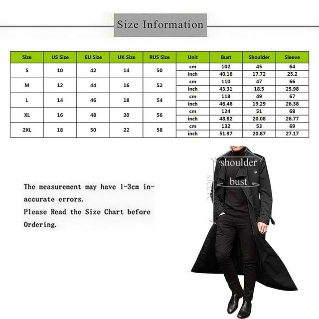 2020 Trench Coat Mens Overcoat Casual Slim Fit Windbreak Plus Size Solid Long Coat Men Fashion Spring Jacket  Homme 2