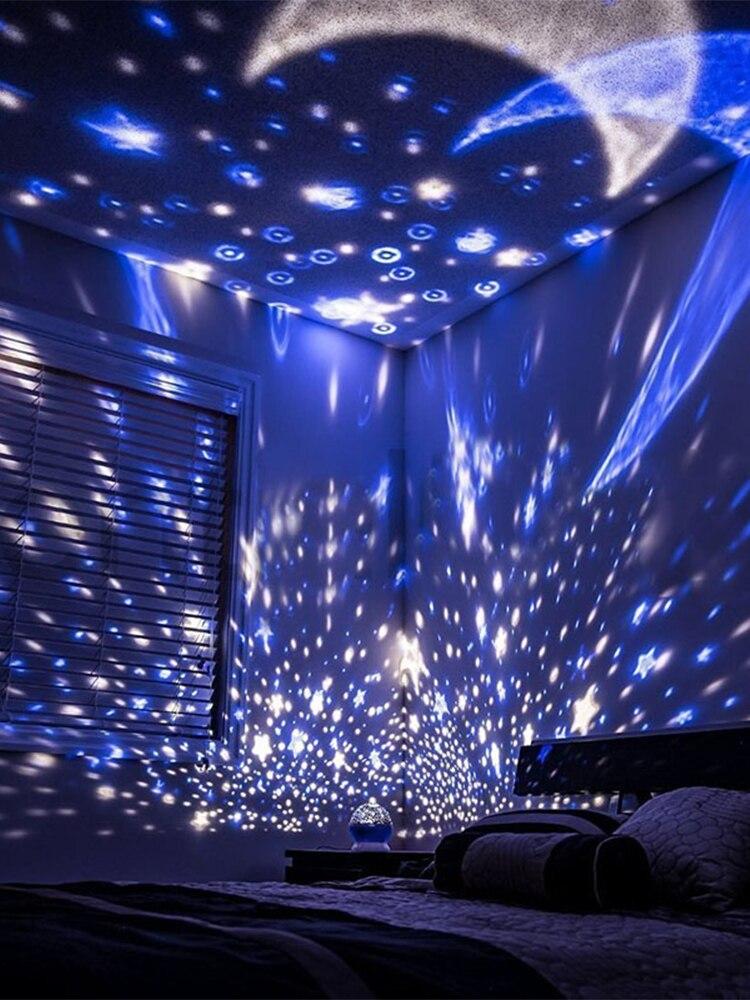 Night-Light Decor-Projector Baby-Lamp Rotating Star Kids Bedroom Moon Galaxy Children