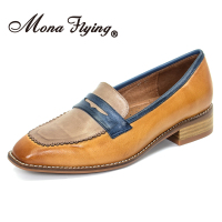 Mona Flying Genuine Leather Penny Loafers Fashion Moccasins Hand made Slip on Casual Flat Shoes for Women Ladies 728 69