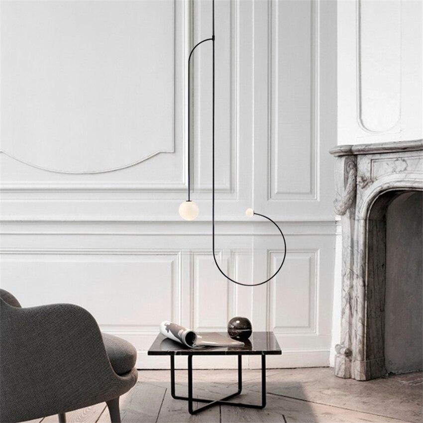 Nero tubo lungo lampadario Apparecchio di Disegno metà del secolo decor lustre sospensione loft industrail retro sfere di vetro lampadario - 4