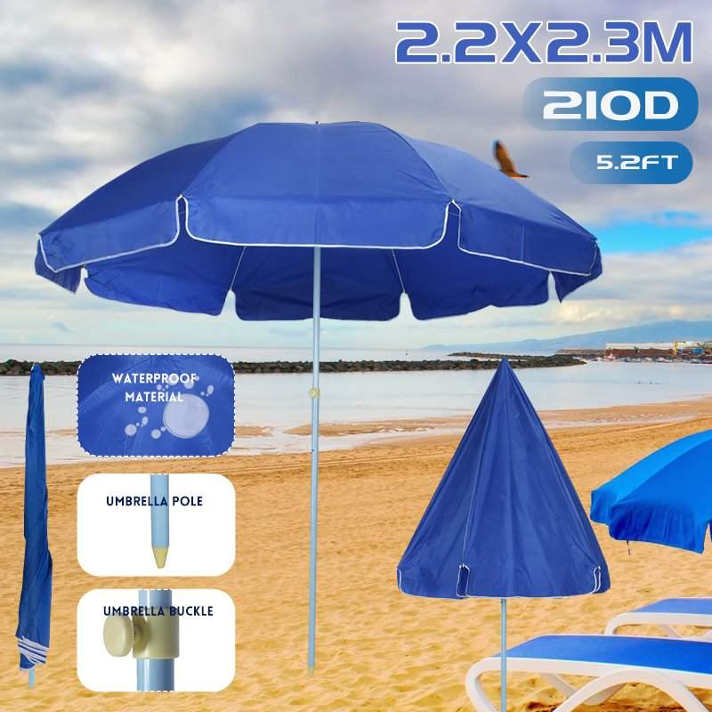 2.2x2.3m Outdoor Beach Umbrella with Steel Poles Garden Patio Sunshade Parasol Round shade Umbrella for Pool Camping Picnic