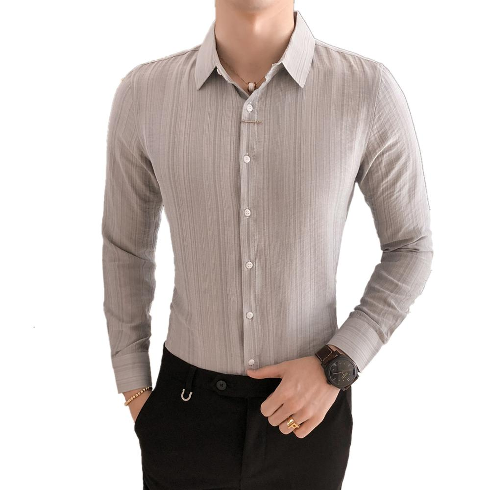 Mens Solid Slim Fit Long Sleeve Casual Dress Shirt with Pocket Casual Top STORTO