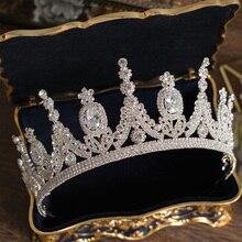 Lüks Tiaras ve taçlar CZ zirkonya prenses Pageant nişan kafa düğün saç aksesuarları abiye gelin takı