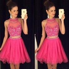 Горячее розовое платье из двух частей для выпускного вечера