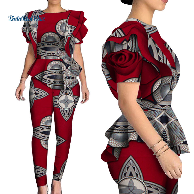 Autumn African Woman Print Top And Pants Sets Bazin Riche 100% Cotton Ruffles Shirts 2 Pieces African Clothes For Women WY5007