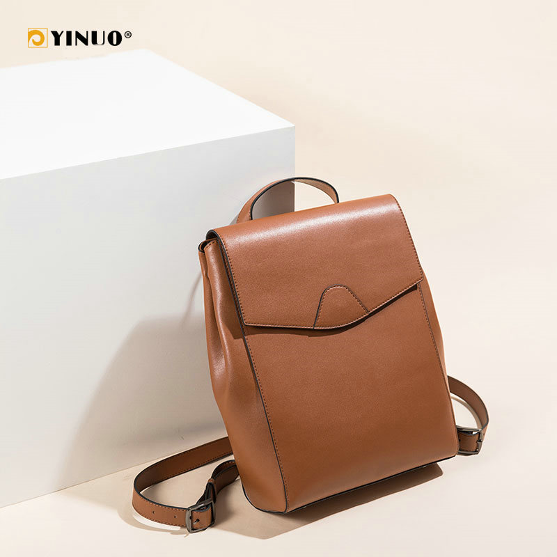 YINUO Multifunction Leather Briefcase 12inch 13inch Laptop Handbag Women Men Business Casual Mochila Light Retro Style