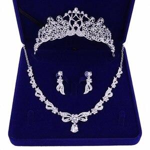 Ангел невесты ожерелье головной убор Комплект из трех предметов Корона Свадебные аксессуары Стразы