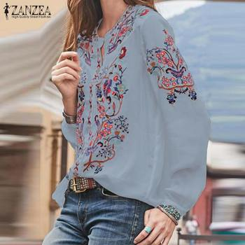 Bohemian Printed Tops Women's Autumn Blouse ZANZEA 2019 Plus Size Tunic Fashion V Neck Long Sleeve Shirts Female Casual Blusas 3