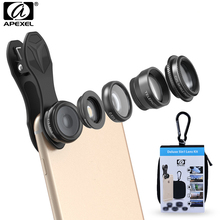 Apexel 5 In 1 HD Phone Camera Lens Kit Fisheye Lens+0 63x Wide Angle+15x Macro Lens+2X Telephoto Lens+CPL Lens for IPhone cheap Wide-Angle Len Oval APL-DG5 Apple iPhones Samsung