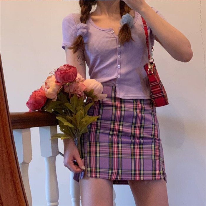 Hd20113b10d4b439c9f84ef585d29c616s - Korean Colored Plaid Skirt Women Student Chic Short Skirts Fashion Sexy Mini Skirts Spring Summer Female Skirts
