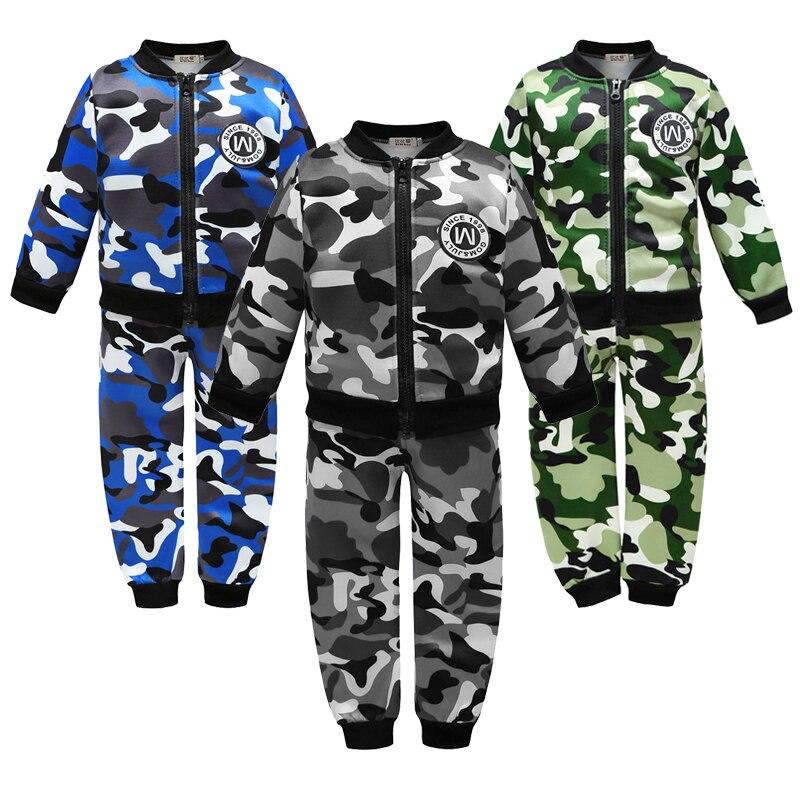 Army Boys Clothing Sets Autumn Plus Velvet Camouflage Print Casual Zipper Boys Jacket And Pant Children Sports Suit Kids Clothes