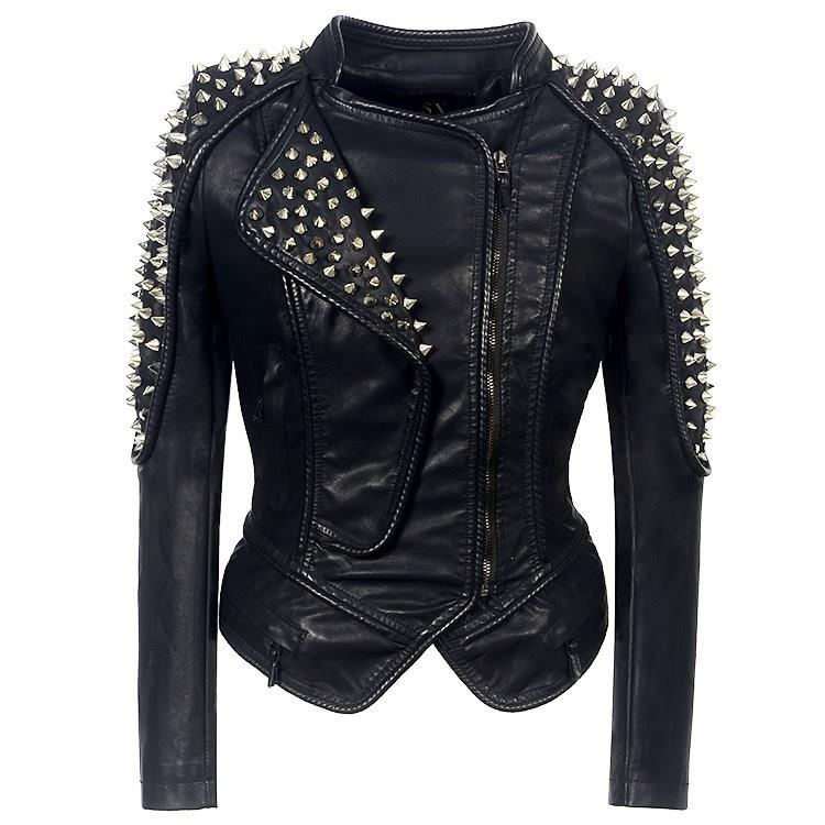Jaqueta de couro do falso do plutônio do punk rebite mulheres motocicleta jaqueta estilo punk preto falso casaco de couro outerwear punk
