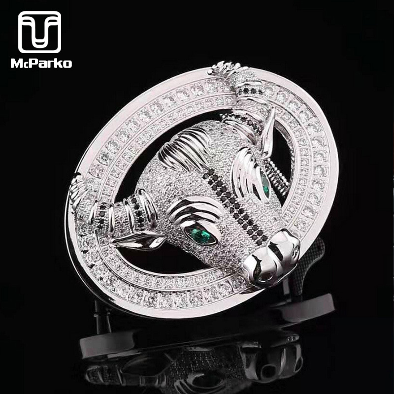 McParko Luxury Men Belt Buckle Accessories Stainless Steel Cowboy Cow Head Belt Buckles For Men Belt Buckle Without Belt Silver