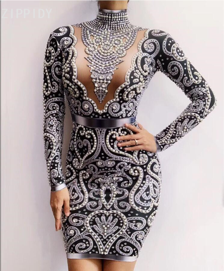 Black Gray Rhinestones Pearls Long Sleeves Dress Sexy Spandex Women Singer Outfit Birthday Celebrate Evening Dress